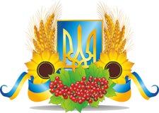 Embleem van de Oekraïne met kalina, zonnebloem, tarwearen en vlaggen vector illustratie