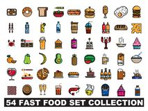 54 embleem van de snel voedsel het vastgestelde inzameling vector illustratie