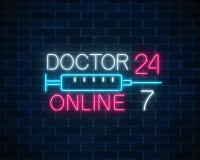 Embleem van het artsen het online gloeiende neon Mobiele geneeskunde 24 uur op 24 uur 24 7 app Neon artsen mobiel app teken met s Stock Illustratie