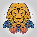 Embleem van het leeuw het hoofdpictogram Vector stock afbeeldingen