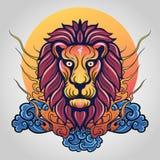 Embleem van het leeuw het hoofdpictogram Vector royalty-vrije stock afbeelding