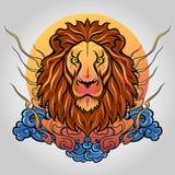 Embleem van het leeuw het hoofdpictogram Vector ontwerp royalty-vrije stock foto's