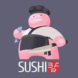 Embleem van het sushi het vectormalplaatje, pictogram, embleem Stock Afbeelding