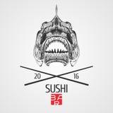 Embleem van het sushi het vectormalplaatje, pictogram, symbool Royalty-vrije Stock Foto