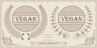 Embleem van het veganist het uitstekende ontwerp, kaders voor malplaatje, plaats en andere Stock Afbeeldingen