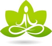 Embleem van lotusbloemmeditatie Stock Afbeeldingen