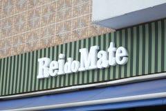 Embleem van Rei do Mate, een Braziliaans netwerk van het theehuis Stock Foto