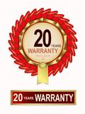 Embleem van rode kleur met de tekst van twintig jaar garantie Stock Foto