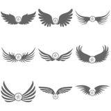 Embleem van zwarte vleugels met een ster Stock Afbeelding