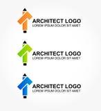 Embleem voor de architect of de ontwerper van huis en int. Royalty-vrije Stock Foto's