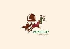 Embleem voor de Mens van de vapewinkel in de kap met de elektronische sigaret royalty-vrije illustratie