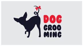 Embleem voor de salon van het hondhaar De salon van de hondschoonheid Huisdier het verzorgen salon V Royalty-vrije Stock Foto