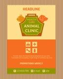 Embleem voor dierlijke kliniek Brochure, Vliegerontwerp Stock Foto