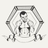 Embleem voor sportclub met het beeld van een bokser Stock Afbeeldingen