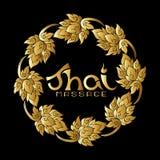 Embleem voor Thaise massage met traditioneel Thais ornament, patroon Gr royalty-vrije illustratie