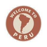 Embleem of zegel met tekstonthaal aan Peru Royalty-vrije Stock Afbeelding