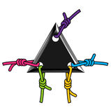 Embleem zwarte driehoek met kleurrijke kabel Stock Afbeeldingen
