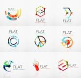 Embleeminzameling - abstract minimalistic lineair vlak ontwerp Bedrijfshi-tech geometrische symbolen, multicolored segmenten royalty-vrije illustratie