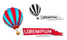 Embleemmalplaatje, de vliegende ballon met een banner Stock Afbeelding