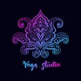 Embleemmalplaatje met lotusbloembloem vector illustratie