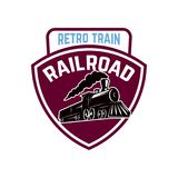 Embleemmalplaatje met retro trein De weg van het spoor locomotief Ontwerpelement voor embleem, etiket, embleem, teken royalty-vrije illustratie