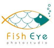 Embleemmalplaatje, vector, vissenoog, photostudio logotype Stock Fotografie