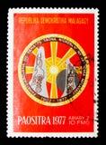 Emblem årsdag 75 av den Madagascar akademin, circa 1977 Arkivfoto