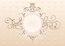 Emblem. Art-nouveau motives emblem. Non-symmetric sides. Fancy leaves backround. Round logo can be placed in center Royalty Free Stock Images