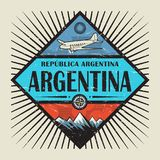 Emblem with airplane, compass, mountains and text Argentina. Stamp or vintage emblem with airplane, compass, mountains and text Argentina, vector illustration Royalty Free Stock Photos