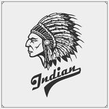 Emblem with American Indian chief. Vector illustration Stock Photo