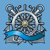 Emblem with anchors Royalty Free Stock Photos