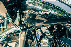 Emblem And Details Of The Famous Harley Davidson Motorcycle. Vintage And Retro Filter Effect Stock Photos