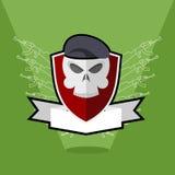 Emblem-Armee Schädel auf Schild Stockbilder