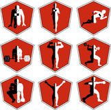 The emblem with the athlete, a sport logo, the runner on start Royalty Free Stock Images