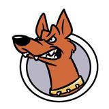 Emblem attention angry dog cartoon Royalty Free Stock Images