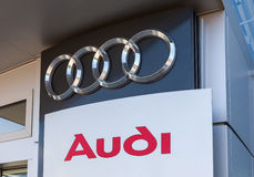 The emblem Audi on the office of official dealer Royalty Free Stock Photo