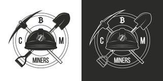 Emblem av att bryta cryptocurrencybitcoin som isoleras på svartvita bakgrunder Logoer emblem av cryptocurrencygruvarbetare Vect royaltyfri illustrationer