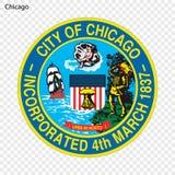 Emblem av Chicago stock illustrationer