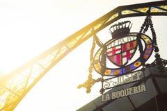 Emblem av den Boqueria marknaden i Barcelona, Spanien royaltyfri bild