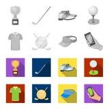 Emblem av golfklubben, lock med en skärm, golfareskjorta, telefon med en navigatör Fastställda samlingssymboler för golfklubb in vektor illustrationer
