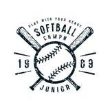 Emblem av softballjuniorlaget royaltyfri illustrationer