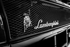Emblem av sportbilen Lamborghini Diablo GT, 2001 Arkivbilder