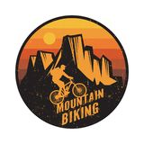 Emblem, badge or logotype of a rider on a mountain bike royalty free stock image