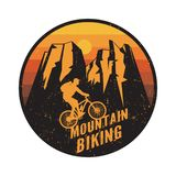 Emblem, badge or logotype of a rider on a mountain bike royalty free stock photos