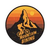 Emblem, badge or logotype of a rider on a mountain bike stock photo