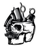 Emblem barber skull Stock Photography