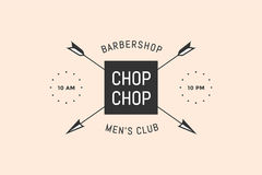 Emblem of Barbershop with arrows. And text Chop Chop, Men`s Club, Barbershop. Logo template for hairdressing salon in vintage retro style. Logo, signs, labels Stock Photos