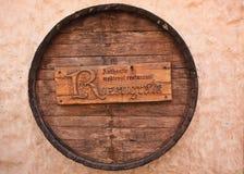 The emblem-barrel of the Riga restaraunt. The logo of the restaraunt on the street of Riga stock photos