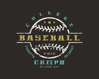 Emblem of baseball college championship. Graphic design for t-sh. Irt. Color print on black background Stock Images