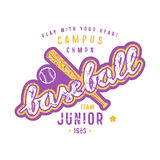 Emblem of baseball junior team. Graphic design with lettering for t-shirt. Color print on white background Stock Photos